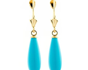 16mm Sleeping Beauty Turquoise Teardrop Lever Back Earrings, Solid 14 Karat Yellow Gold, Blue Turquoise Teardrops, Gold Lever Back Earrings