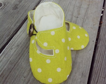 Lime and Cream Polka Dot Linen Loafer Baby Shoes