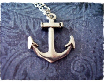 Large Silver Anchor Necklace - Antique Pewter Anchor Charm on a Delicate Silver Plated Cable Chain or Charm Only