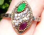 SALE Ruby Emerald and White Sapphire Vintage Ring