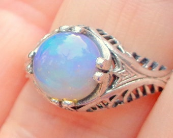 Sz8.75,Welo Opal Ring,Sterling Silver Ring,Blue Opal,Ethiopian Opal,Semi-transparent,Pastel Color Play,Lavender Blue Yellow,Ornate Ring OOAK
