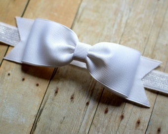 White Bow Headband. White Baby Bow Headband. White Baby Headband. Baby Hair Accessories. Girls Hair Accessories. Christening. Baptism. White