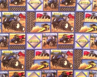 A Wonderful New Holland Tractors On The Farm Blocks Cotton Fabric By The Yard Free US Shipping