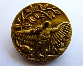Large Single Antique Fables Button  The Goose and the Viper   31.6mm size