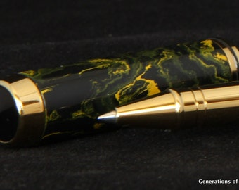Rollerball Pen - Black with Yellow Ebonite Handmade Pen  - Writing Pens - Grooms Gift - Wedding Guest Book Pen  * birthday gifts