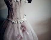 Free shipping.Peach and ivory lace burlesque corset prom dress,wedding dress.