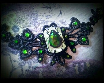 Black Lace Real Green Chafer Beetle in Resin Bracelet / Cuff