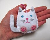 Personalized Cat Christmas Ornament, Felt Christmas Ornament, Cat Holiday Ornament, Girls Christmas Ornament