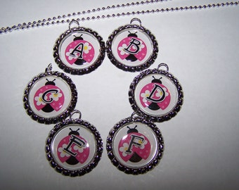 Ladybug Party Favors / Personalized Ladybug Bottle Cap Necklaces / Girls Birthday Party Favors