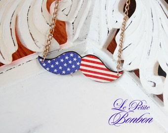 U.S.A flag mustache necklace