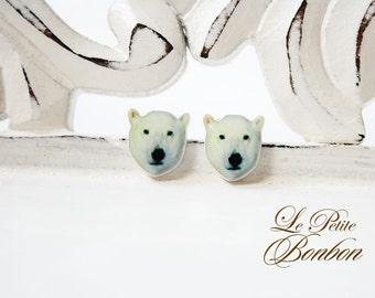 Polar Bear Animal Face Selfie app earrings