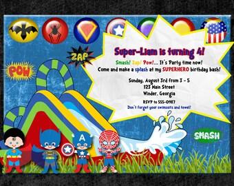 Super Hero Invitation Birthday, waterslide  or Pool Party -Digital File