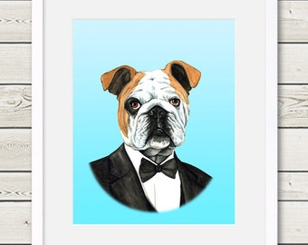 English Bulldog Art - English Bulldog Groom Dog Portrait Painting - Wedding Dog Art - dog home decor
