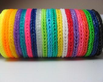 Rainbow loom bracelet fishtail pattern solid colors you choose color