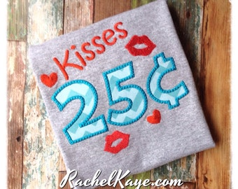 Kisses for sale boy valentines day appliqué shirt RTS ready to ship