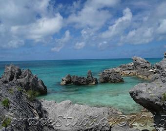 Bermuda Beach Water Photo - Tobacco Bay Island 5x7 matted to 8x10 inch