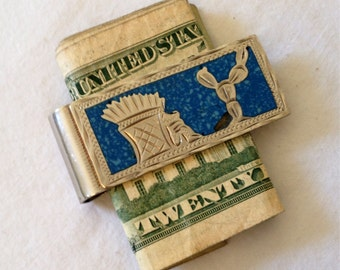 Vintage Money Clip Sterling Silver and Turquoise Rugged South of the Border