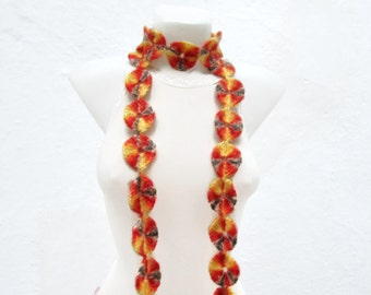 Crochet Lariat Scarf, Crocheted Necklace, Long Circle Jewellery, Skinny Accessories, Autumn, Wrap Scarves, Yellow Orange Brown, Christmas
