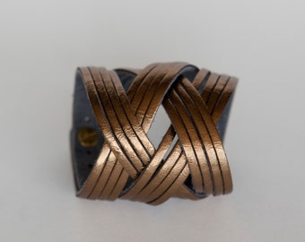 Metallic Leather Bracelet, Bronze Leather Cuff  - the Jazz