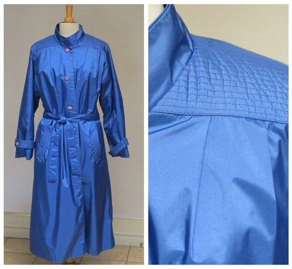 Royal Blue Lined Trench Coat 1980s Vintage All By