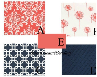Custom Crib Bedding You Design   Bumper and Bedskirt in Coral and Navy