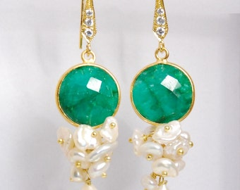 Emerald gemstone and fresh water pearl dangle earrings, with vermeil ball pins and vermeil ear wires
