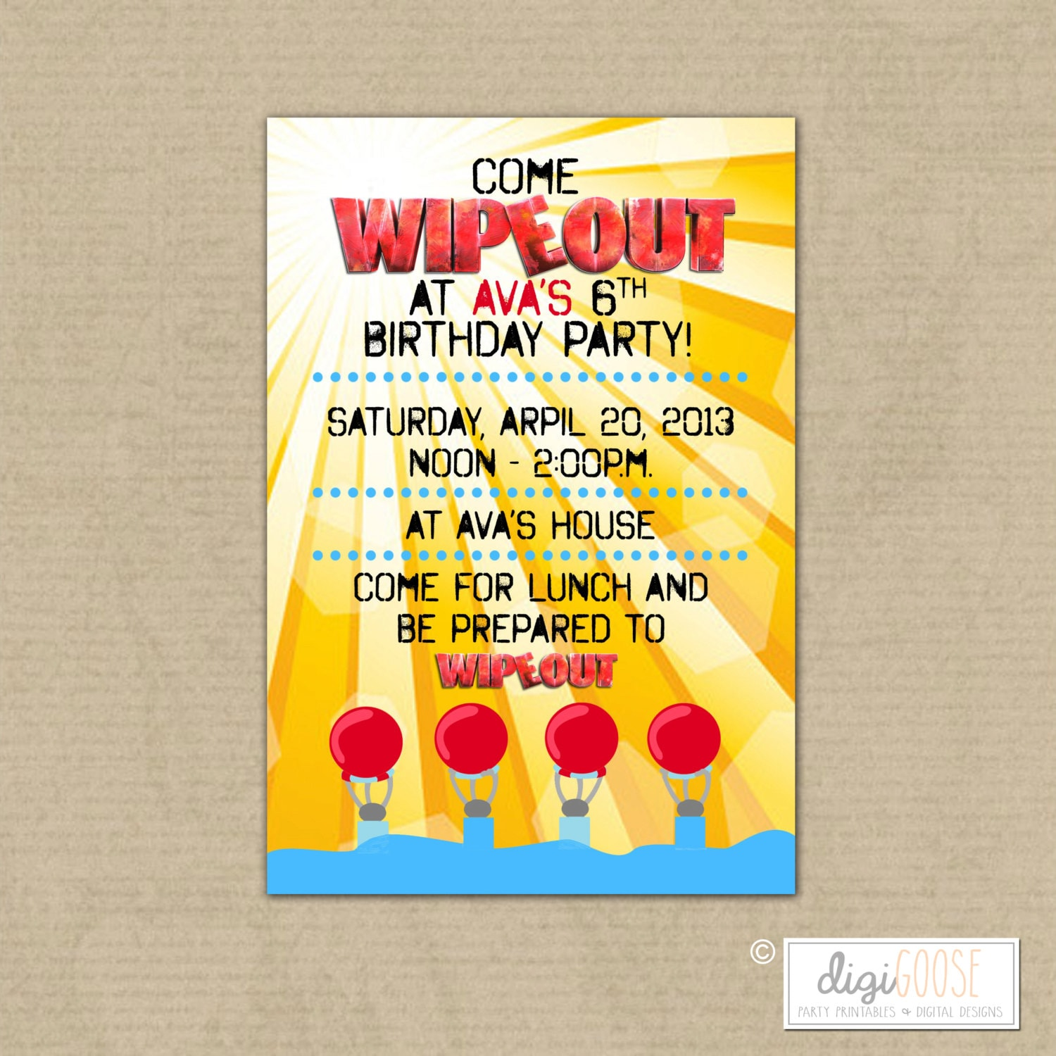 WIPEOUT Birthday Party Invitation Water Slide party Pool – Water Slide Party Invitations