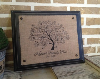 Family Tree -  Burlap Wall Hanging with Distressed Wood Backing