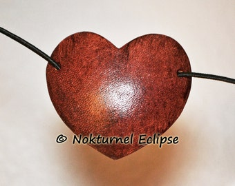 SMALL Mahogany Heart-Shaped Leather Eye Patch Steampunk Pirate Halloween Cosplay Costume Renaissance Anime Eye Wear Unisex - 2 INCHES TALL