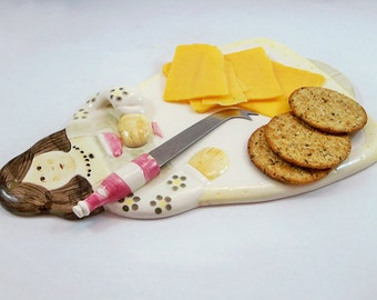 Vintage Sigma Hand-Painted Ceramic Cheese Board and Knife