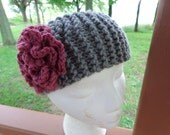 Chunky Knitted Headband in Gray with Flower