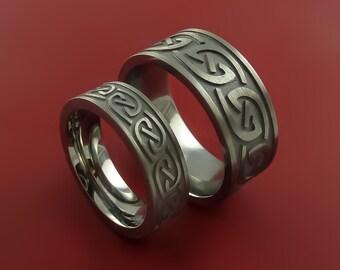 Titanium Celtic Infinity Ring Set Symbolic Wedding Bands Custom Made to Any Size