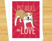 Pit Bull Equals Love Card - Tan and White Pit Bull - Valentines Dog Cards I Love You Cards