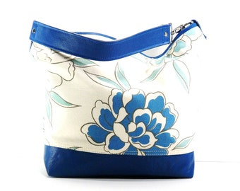 Chrysanthemum Hobo in Turquoise, Chrysanthemum Shoulder Leather Trim