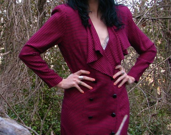 Vintage Late 1980s PLAID Working Girl Secretary Business Dress SHOULDER PADS