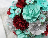 Tiffany Blue,  Wine Red and Silver Handmade Paper Flower Wedding Bouquet - Custom Colors