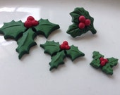 Holly Leaf Christmas Winter Buttons Cabachons