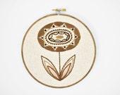 Neutral Hand Embroidery Art, Brown and Tan Flower, 6 inch Hoop Botanical Neutral Fiber Art