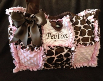 Custom made giraffe pink and brown rag quilted diaper bag purse for baby girl