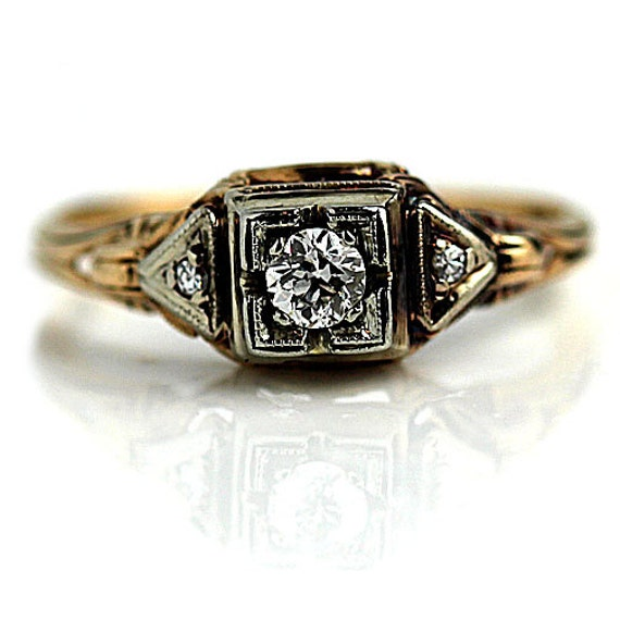 Items Similar To RESERVED RESERVED Antique Engagement Ring 1940 39 S 24ctw