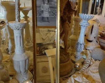 Vintage Shabby Cottage Chic Victorian Cabinet Photo Mirror