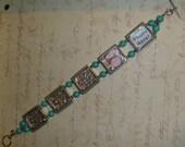Turquoise bead photo frame bracelet