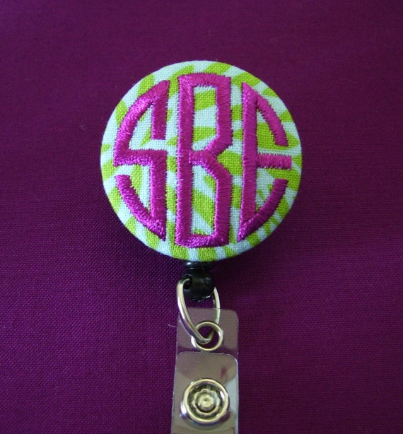 retractable monogrammed embroidered badge reel    name badge