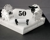 personalised sheep popup birthday card with choice of number and name