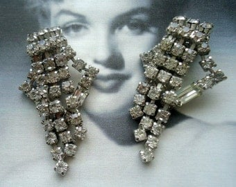 Kramer Signed 1950's Rhinestone Dangle Earrings