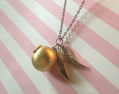 Harry Potter Deathly Hallows Inspired Vintage Golden Snitch Locket Necklace - Silver
