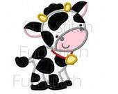 Farm cow applique machine embroidery design
