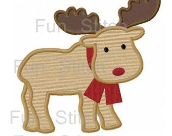 Christmas reindeer applique machine embroidery design