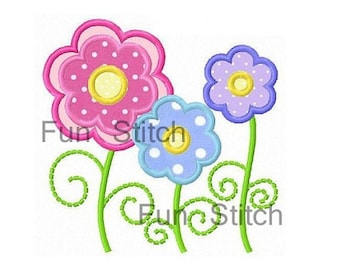 Three daisy flowers applique machine embroidery design