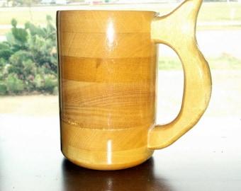 Handcrafted Wood Mug Yellow Heart  20 oz Tankard, Wood Beer Mug, Beer Stein, Drinking Vessel, Stein, Wood Beer Tankard, Wood Beer Stein